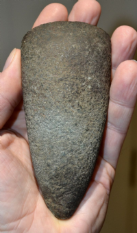 "A heavy, well defined and rare, semi-polished ""Cornish Green Stone"" Axe (Epidiorite) from the Lizard, Cornwall. SOLD"